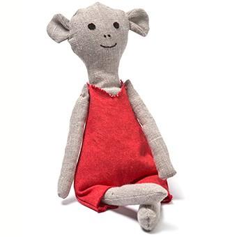knuffel small ecru met rood broekpakje  